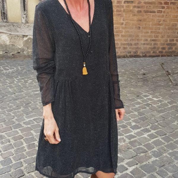 robe noir ICHI à pois