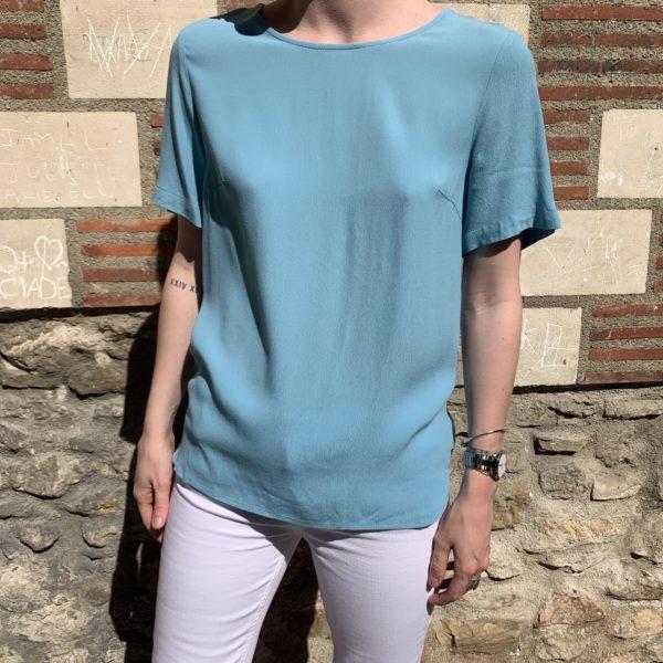 blouse bleu manche courte