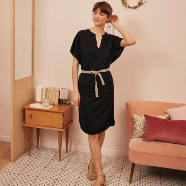 robe Des Petits Hauts courte lin noir