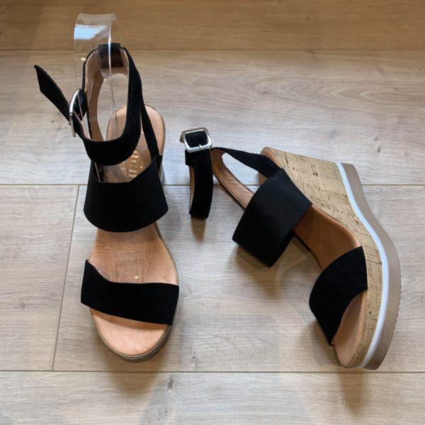 chaussures sandale compensé noir Felmini