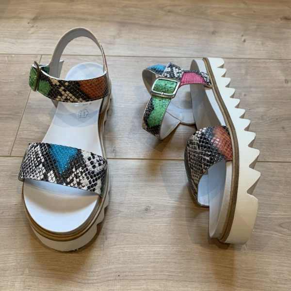 chaussures sandale python multicolores