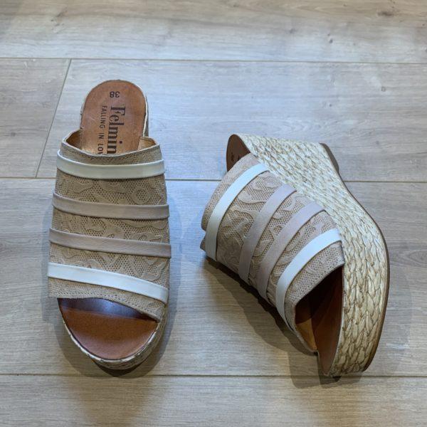 chaussures sandale mule compensé rose