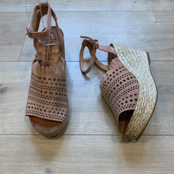 chaussures sandale compensé vieuc rose