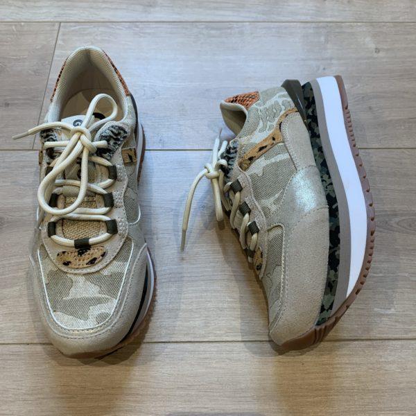 chaussures basket beige militaire