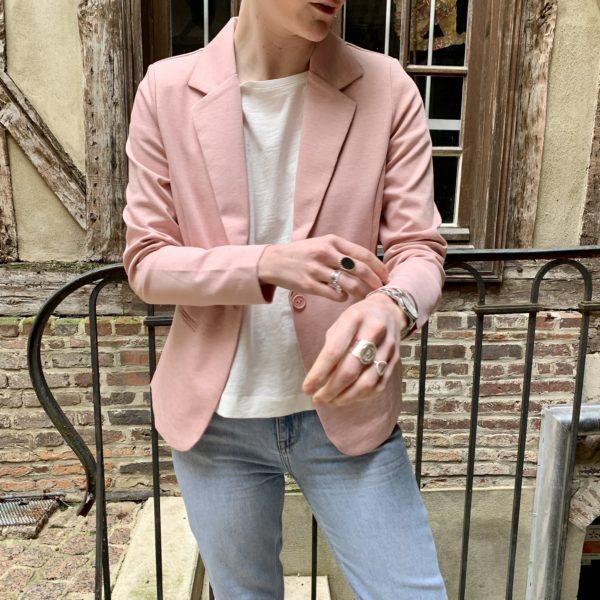 vest blazer rose
