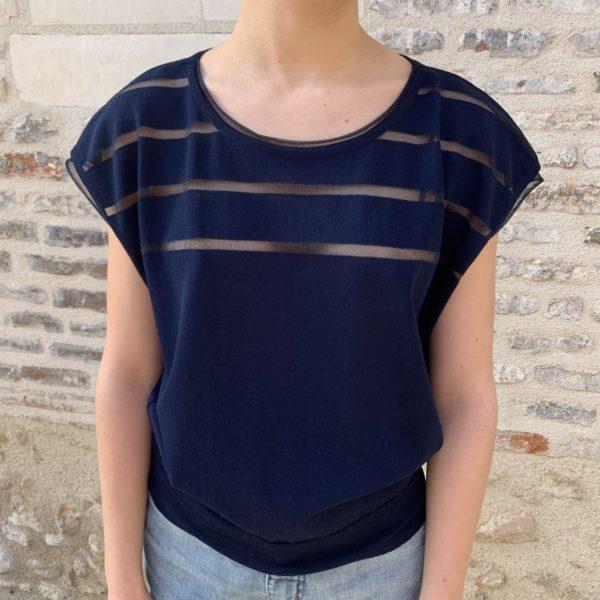 T-shirt pull bleu marine