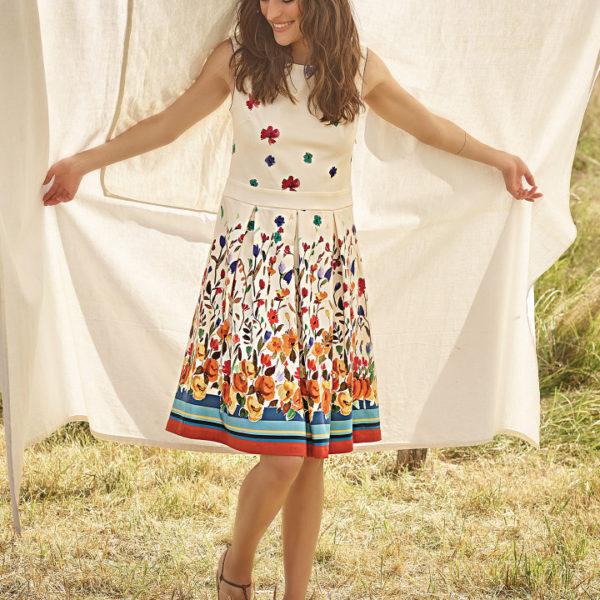 robe courte à fleurs aquarelle