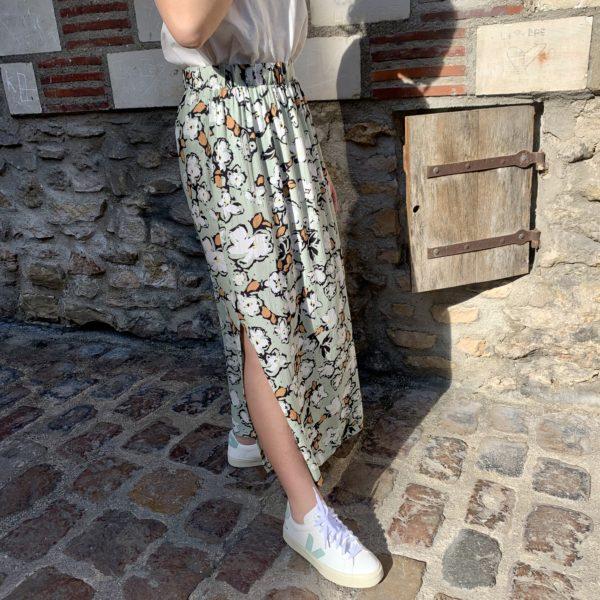 jupe amande longue avec fente motif fleur