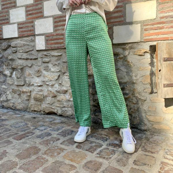 pantalon vert fluide ICHI à carreaux blanc