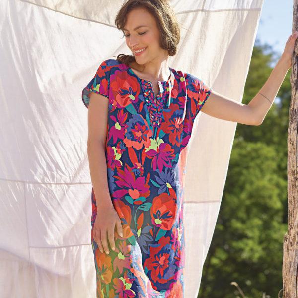 robe manche courte à motifs fleurs