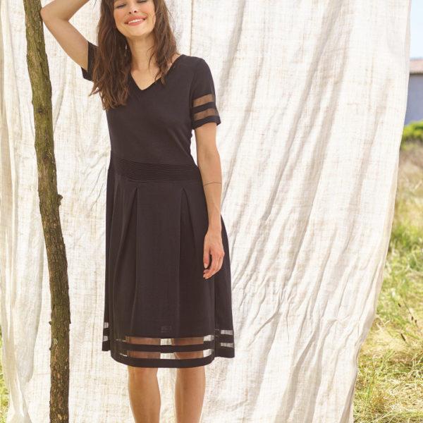 robe noir manche courte transparence