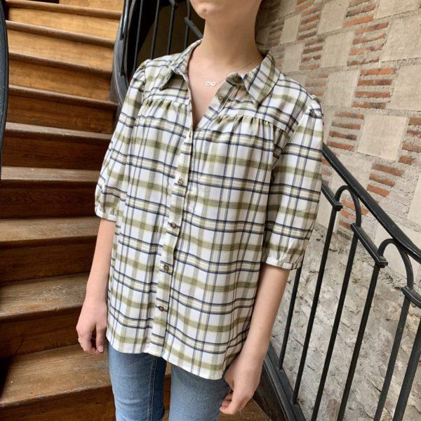 chemise manche mi-longue carreaux bleu et vert
