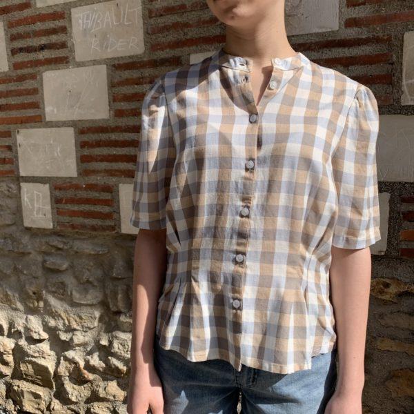 blouse à carreaux beige bleu blanc