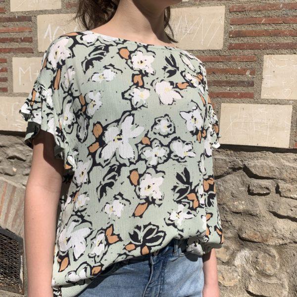 blouse vert amande à fleurs