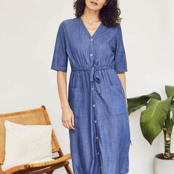 robe mi-longue couleur jean