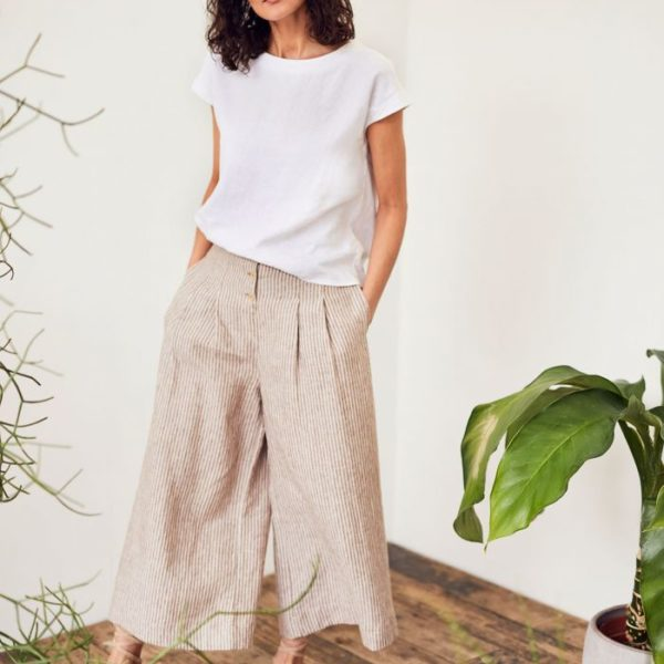 pantalon large beige et blanc rayures